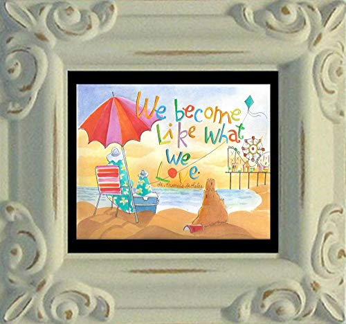 Trinity Stores Mini Magnet Framed Religious Art Print - Antique White-3¾x4¼ - We Become What We Love by Br. Mickey McGrath, ()