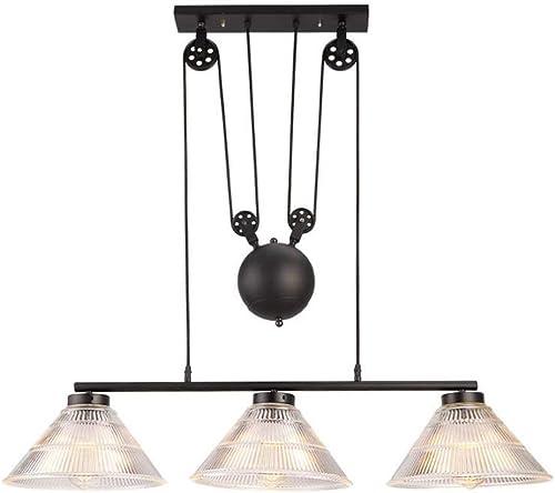 HAIXIANG 3-Lights Pulley Pendant Light Island Light Adjustable Industrial Vintage Rustic Chandelier