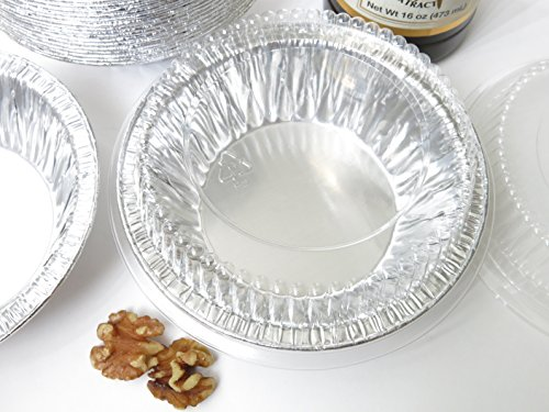 Disposable Aluminum 5'' Tart Pan/individual Pie Pan w/ Clear Dome Lid #501P (500) by KitchenDance (Image #2)