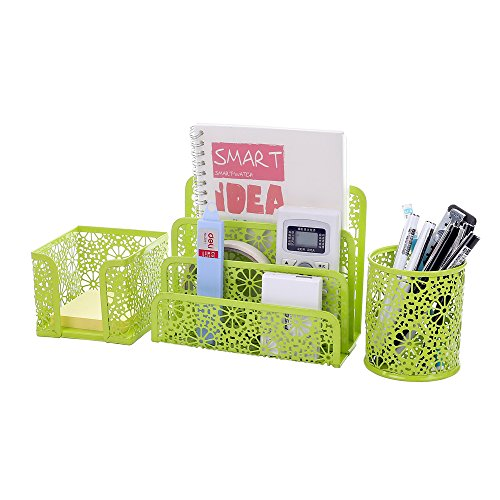 Crystallove Set of 3 Metal Mesh Office Supplies Desk Organizer, Green-Style 2