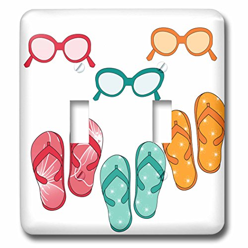 3dRose lsp_222506_2 Cute Flip Flops with Matching Sunglasses Illustration - Double Toggle - Sunglass Illustration