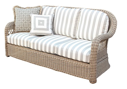 South Sea Rattan Driftwood Arcadia Sofa, Aquamarine