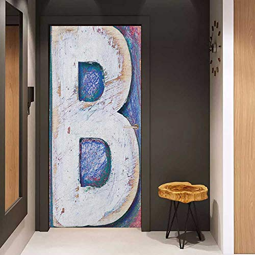 Onefzc Self-Adhesive Wall Murals Letter B Ancient Printing Design with Wooden Block Letters Capital B Rough Aged Worn Look Sticker Removable Door Decal W23.6 x H78.7 Multicolor ()