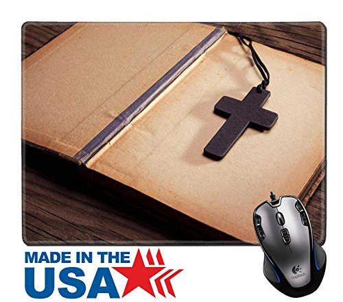 """MSD Natural Rubber Mouse Pad/Mat with Stitched Edges 9.8"""" x 7.9"""" Closeup of wooden Christian cross on bible IMAGE 35686437"""
