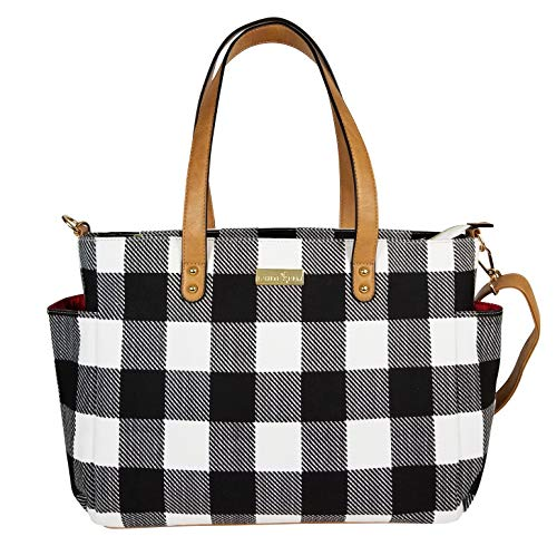 Striped Tote Bag by White Elm | The Aquila (New Edition)| Canvas & Vegan Leather | Buffalo Check Plaid Gingham (Check Canvas Tote)