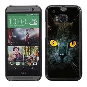 Be Good Phone Accessory // Dura Cáscara cubierta Protectora Caso Carcasa Funda de Protección para HTC One M8 // Cat Yellow Eyes Grey British Shorthair