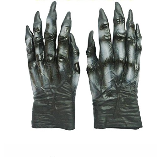 OULII Wolf Gloves Werewolf Hands Creepy Scary Halloween (Scary Wolf Costumes)