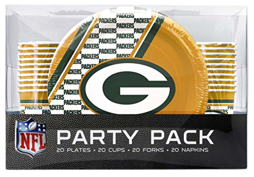 NFL Green Bay Packers Disposable Party Pack (Plates, Cups, Forks, Napkins) -