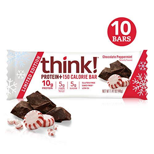 think! Protein+ 150 Calorie Bars – Chocolate Peppermint LIMITED EDITION, 10g Protein, 5g Sugar, No Artificial Sweeteners, Gluten Free, GMO Free, 1.4 oz bar (10 Count)