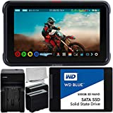 Atomos Ninja V 5'' 4K HDMI Recording Monitor with WD Blue 500GB Sata SSD Essential Bundle – Includes: 2X Rechargeable Lithium-Ion Battery + Battery Charger + Microfiber Cleaning Cloth