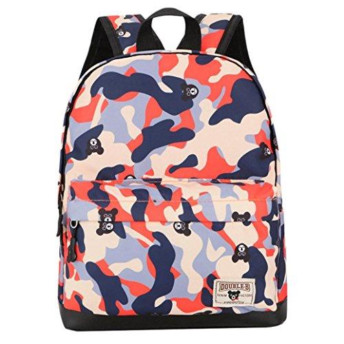 - MaxFox Childern Camouflage Pattern Print Shoulder Bag Kids Nylon School Backpack (Orange)