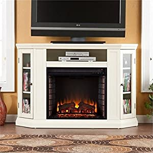 """BOWERY HILL 48"""" Convertible Electric Fireplace TV Stand in Ivory"""