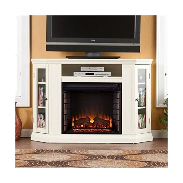 "BOWERY HILL 48"" Convertible Electric Fireplace TV Stand in Ivory"