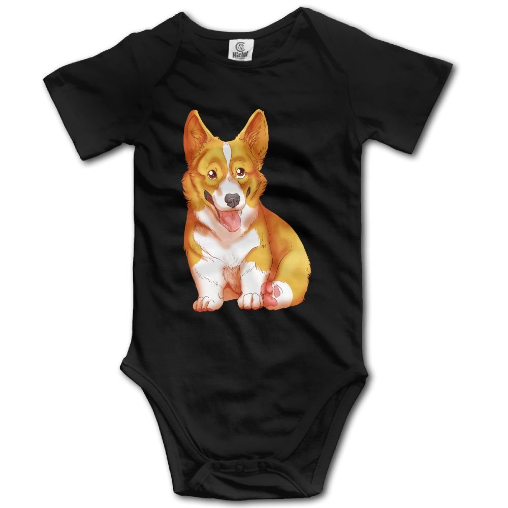 Jaylon Baby Climbing Clothes Romper Lovely Corgi Infant Playsuit Bodysuit Creeper Onesies Black