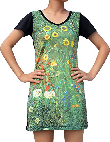 RaanPahMuang Gustav Klimt Sunflower Field Black Sleeve Dress, X-Large