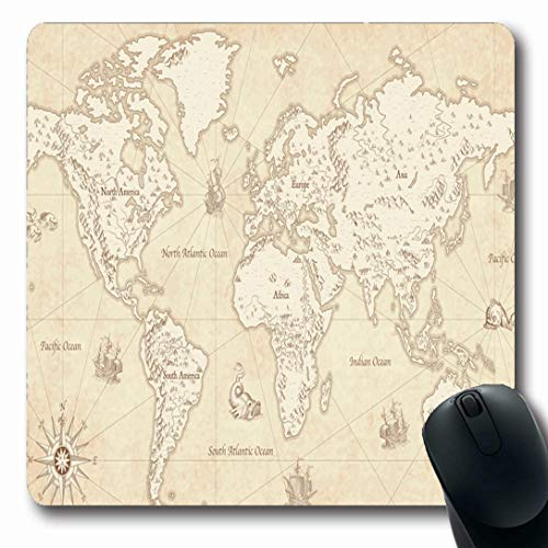 Ahawoso Mousepads for Computers Europe Antique Great Detail World Map Wind Vintage Mountain Ship Globe Africa Parchment Oblong Shape 7.9 x 9.5 Inches Non-Slip Oblong Gaming Mouse Pad