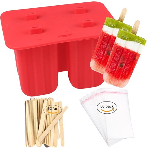 Homemade Popsicle Molds Shapes, Food Grade Silicone Frozen Ice Popsicle Maker-BPA Free, with 62 Popsicle Sticks 50 Popsicle Bags(4 Cavities)