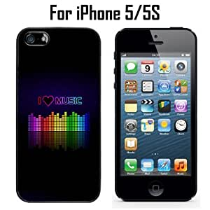 I Love Music Equalizer Custom Case/ Cover/Skin *NEW* Case for Apple iPhone 5/5S - Black - Plastic Case (Ships from CA) Custom Protective Case , Design Case-ATT Verizon T-mobile Sprint ,Friendly Packaging - Slim Case by icecream design