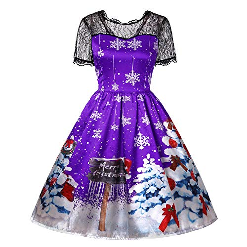 Christmas Dress Franterd Vintage Lace Patchwork Sleeve Zipper Vintage Evening Party Swing Dresses - Merry ()