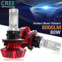 H13 Led Headlight Bulbs, Autofeel H13 Led Headlamp 360°Beam Angle Led Driving Lamp All-in-One Conversion Bulb Kit 7HL Low Beam 80W 8000LM 6500K Cool White Chips with Canbus Modules-1 Years Warranty