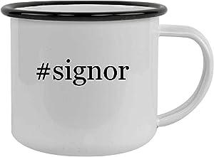 #signor - Sturdy 12oz Hashtag Stainless Steel Camping Mug, Black