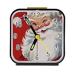 LiFei Business Vintage Christmas Jolly Santa Claus Custom Square Black Alarm Clock