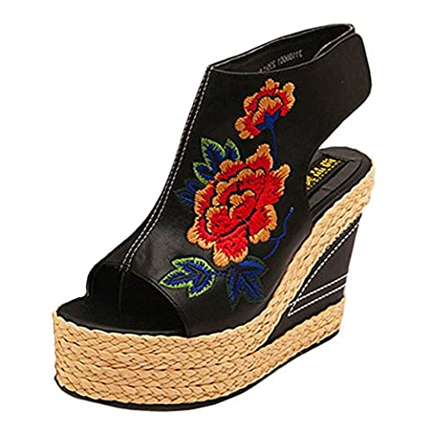 Btrada Women Peep Toe Wedge Sandals Embroidered Retro Platform Sandals - Retro Peep Toe