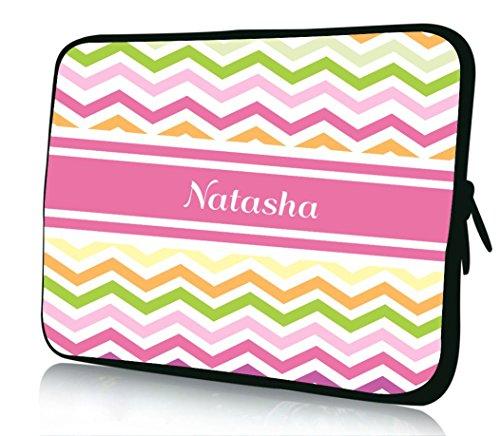 "17 inch Rikki KnightTM ""Natasha"" Pink Chevron Name Design Laptop Sleeve"