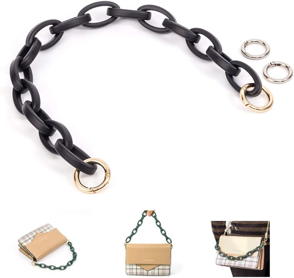Xiazw Short Resin Bag Purse Handle Strap Replacement,Bag Decoration Chain,Bag Accessories Charms Dark Brown