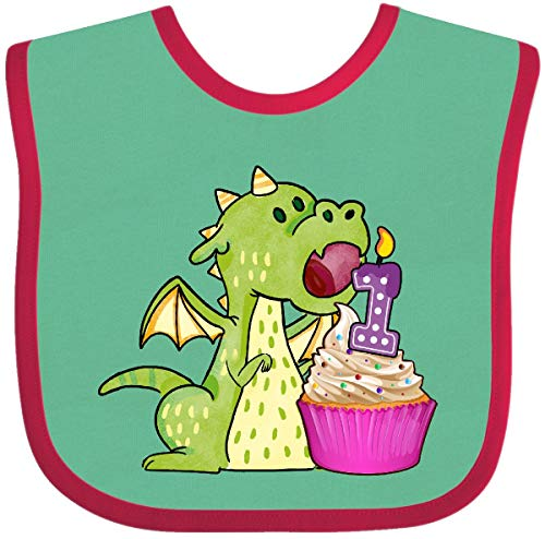 Inktastic - Dragon Cupcake 1st Birthday Baby Bib Green and Red 31cdd