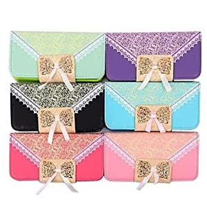 PEACH Fashion PU Leather Full Body Case Handbag Lace with Card Slot for iPhone 4/4S (Assorted Colors) , Red
