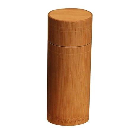 Tetera de bamb/ú Tipo Recto T/é Caddy Caf/é Az/úcar Caja de Almacenamiento Matcha Botes de Cocina port/átiles Tarro con Tapa Tetera Caddy Pot