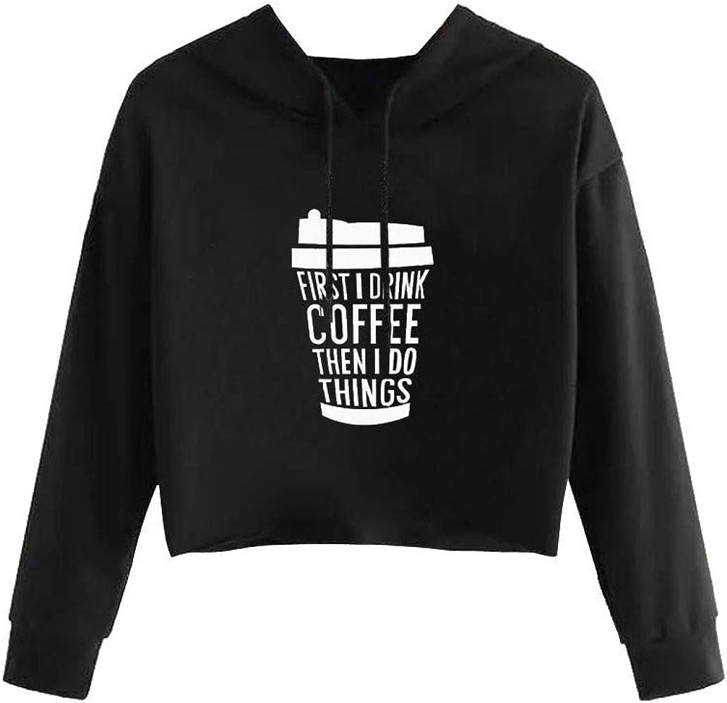 99AMZ Mujer Sudaderas con Capucha - Adolescentes Chicas Sudaderas Mujer - Cafe Estampado Blusa Tops Camiseta de Manga Larga Sudaderas Ropa para Otoño e Invierno Negras Cortas Sudaderas (S): Amazon.es: Ropa y