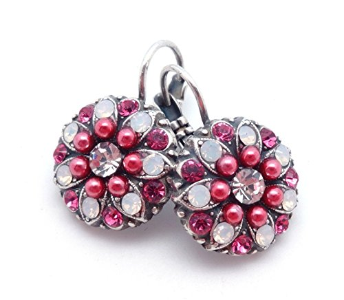 Mariana 1046 Pink Cherry Blossom Rose & White Opalescent Swarovski Crystal Silver Plated Earrings 1
