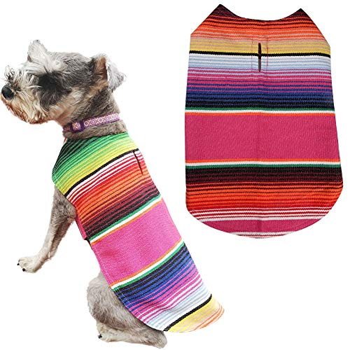 Lamphyface Pet Costume Dog Clothes Poncho Reversible Plaid Coat Apparel Mexican Serape]()