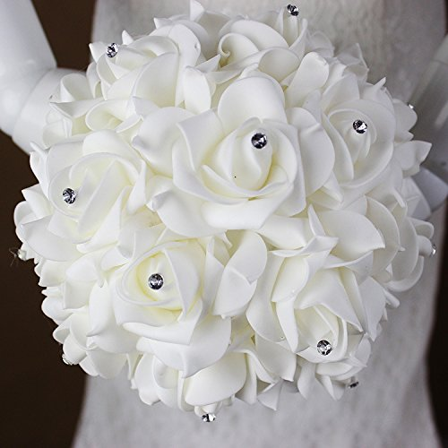 Antrader Artificial Wedding Holding Bouquet Flowers Roses Crystal Rhinestone Bridal Silk Throw Bouquet White