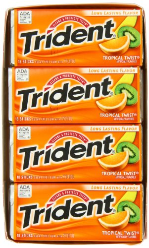 012546619592 - Trident Sugarless Gum, Tropical Twist, 18-Count Packages (Pack of 12) carousel main 3