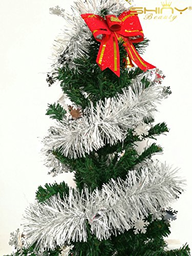 (ShinyBeauty Silver Tinsel Twine, gift wrapping ribbon, eyelash trim, baby nursery garland, wedding garland (TG002))