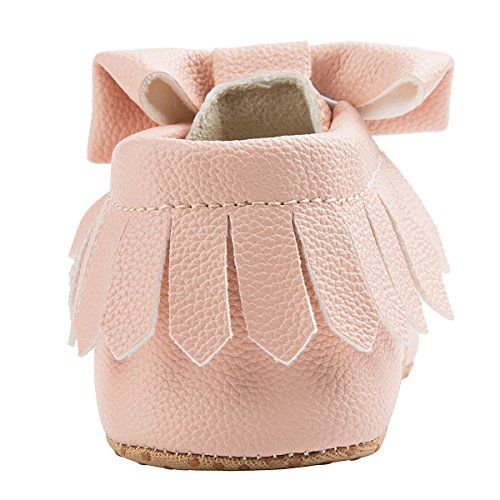 Dicry Baby Girls Leather Moccasins Elastic Cuffs Non-Slip Soft Sole Crib Shoes With Tassel Bowknot For 12-18 Months Toddler Pink - Image 5