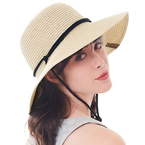 """07683f71 sandals Women's Wide Brim Sun Beach Hat Braided Bucket with Wind Lanyard UPF  50+. """""""