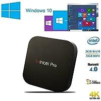 Wintel pro W8 Windows 10 Mini PC Destop Smart TV Box Media Player with Intel Cherry Trail Z8300 Quad-core 4K HD 2GB RAM 32GB Disk HDMI 2.4GHz Wifi Bluetooth4.0 USB3.0 (2GB+32GB)