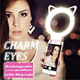 360°Selfie Ring Light, Tsanglight Clip On Selfie Light [Operated by Built-in Rechargeable Battery] for Pad, iPhone 7 6S Plus SE 5S, Samsung S6 S7 Edge, Blackberry Sony LG & All Other Phones - Pink