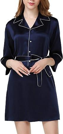 AXIANQI - Camisa de Noche de una Pieza con Reverso Azul Oscuro para Mujer de Tejido 100% Seda, Albornoz de Ropa de casa Informal Suave y cercana, Bleu Foncé, X-Large: Amazon.es: Hogar