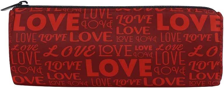 Estuche para lápices con diseño de letras de amor, color rojo, para niños, niñas, estudiantes, para la escuela, bolsa de maquillaje redonda: Amazon.es: Oficina y papelería