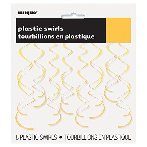 Plastic Hanging Swirl Yellow Decorations