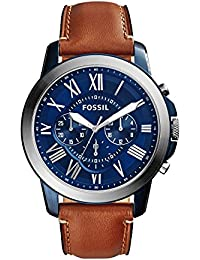 Men's Grant Quartz Stainless Steel and Leather Chronograph Watch Color: Blue, Brown (Model: FS5151)