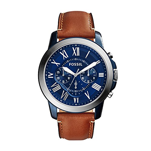(Fossil Men's Grant Quartz Stainless Steel and Leather Chronograph Watch Color: Blue, Brown (Model:)