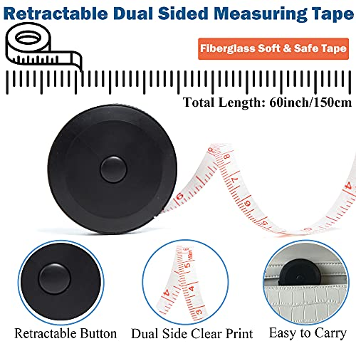 J.CARP 3 Pack Tape Measure Set, Measuring Tape for Body, Fabric Sewing Tailor Cloth Craft Measurements, Including Soft Tape and Retractable Double Scales Measuring Tape