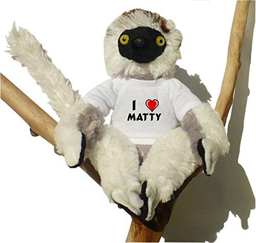Sifaca (lémur) de peluche con Amo Matty en la camiseta (nombre de pila/apellido/apodo)