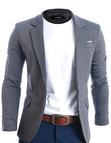 FLATSEVEN+Mens+Slim+Fit+Casual+Premium+Blazer+Jacket+%28BJ102%29+Grey%2C+L